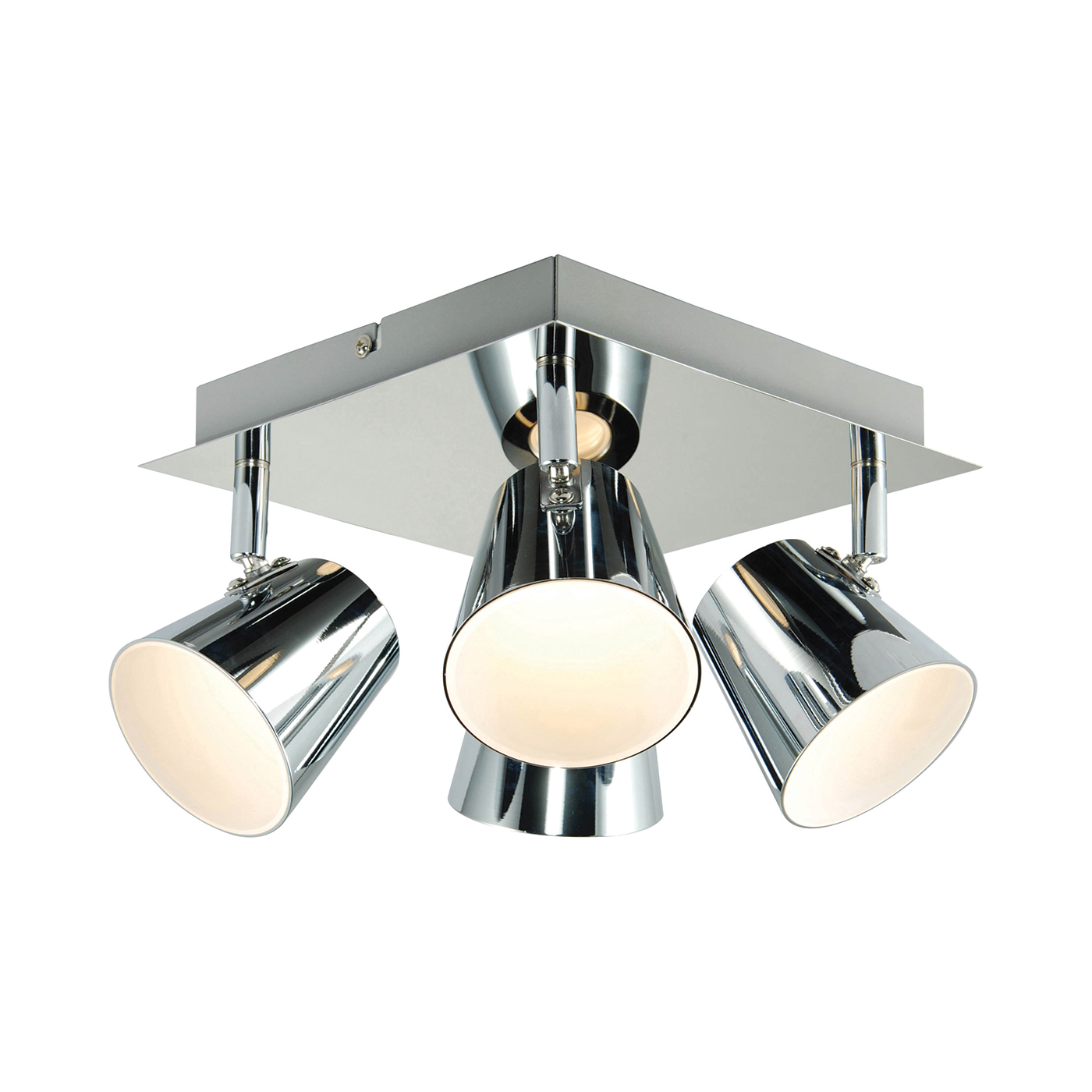 Endon Torsion ceiling spotlight square 4x 5W Chrome effect plate frosted acrylic Thumbnail 1