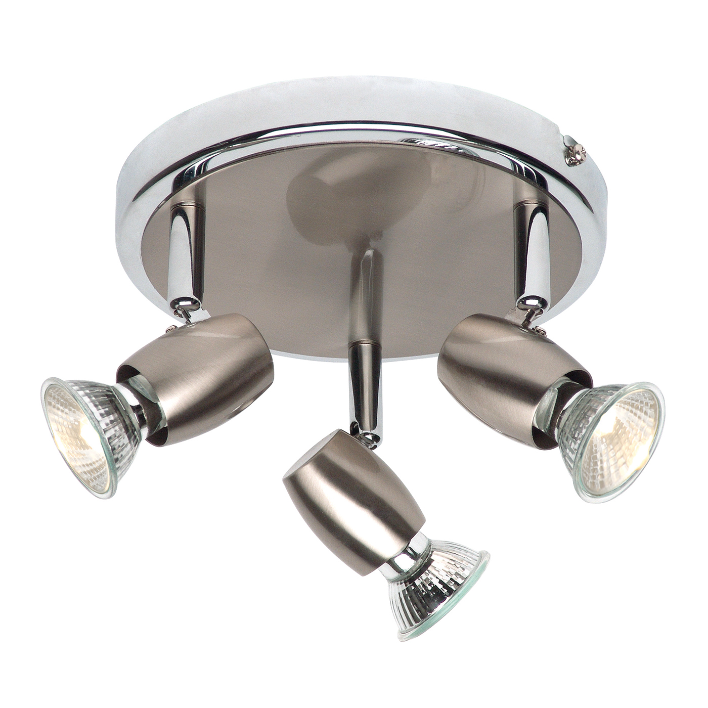 Endon Palermo ceiling spotlight round 3x 50W Brushed chrome effect Thumbnail 1