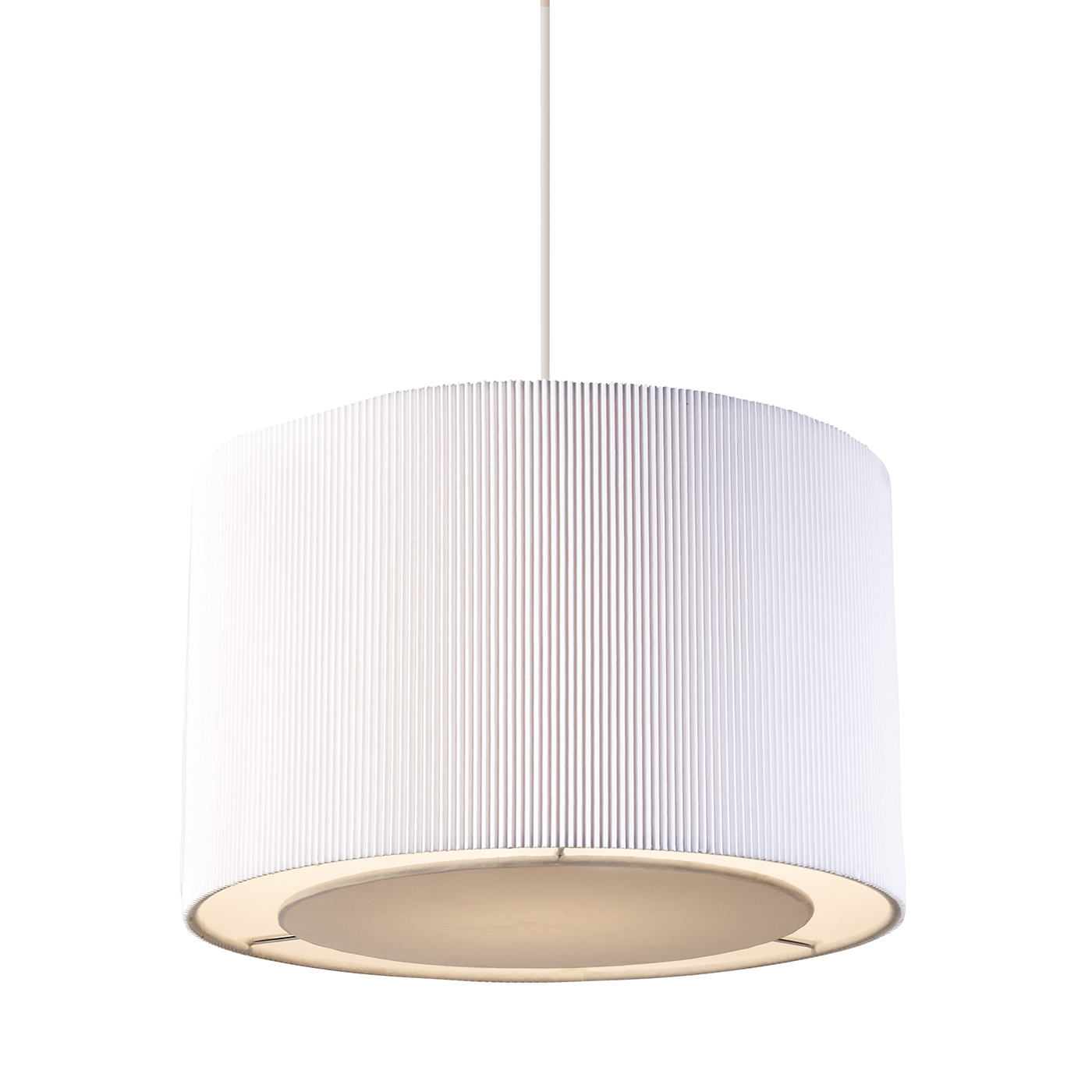 Endon Colette pendant shade only 60W White tc fabric & chrome effect plate