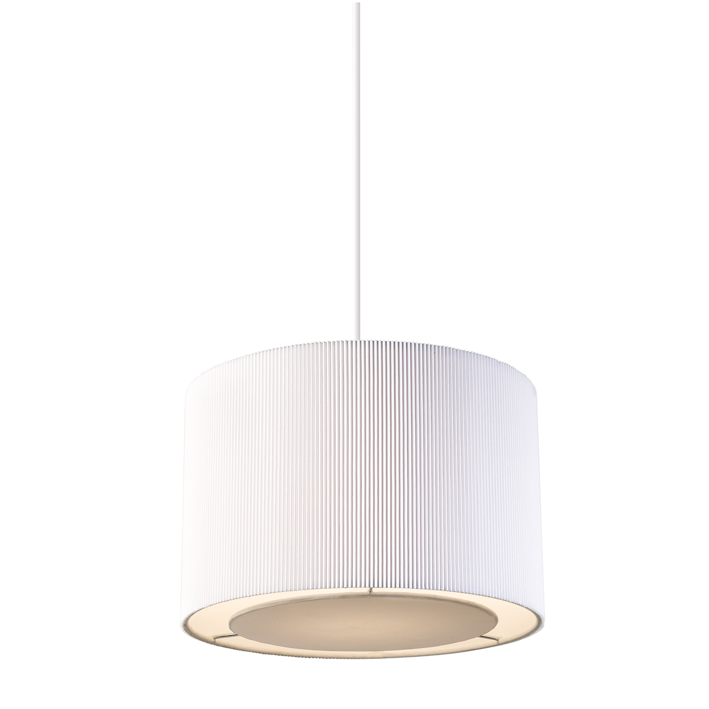 Endon Colette pendant shade only 60W White tc fabric & chrome effect plate Thumbnail 1