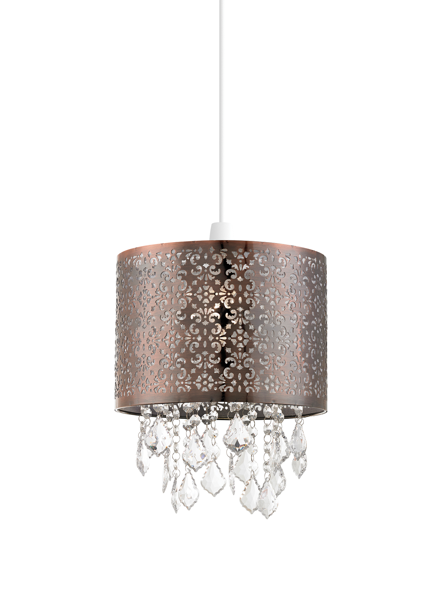 Endon Moccas pendant shade only 60W Antique brass effect plate & clear acrylic Thumbnail 1