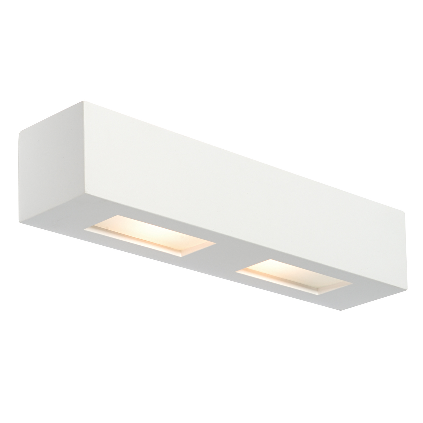 Endon Box 2lt wall light 28W White plaster & frosted glass