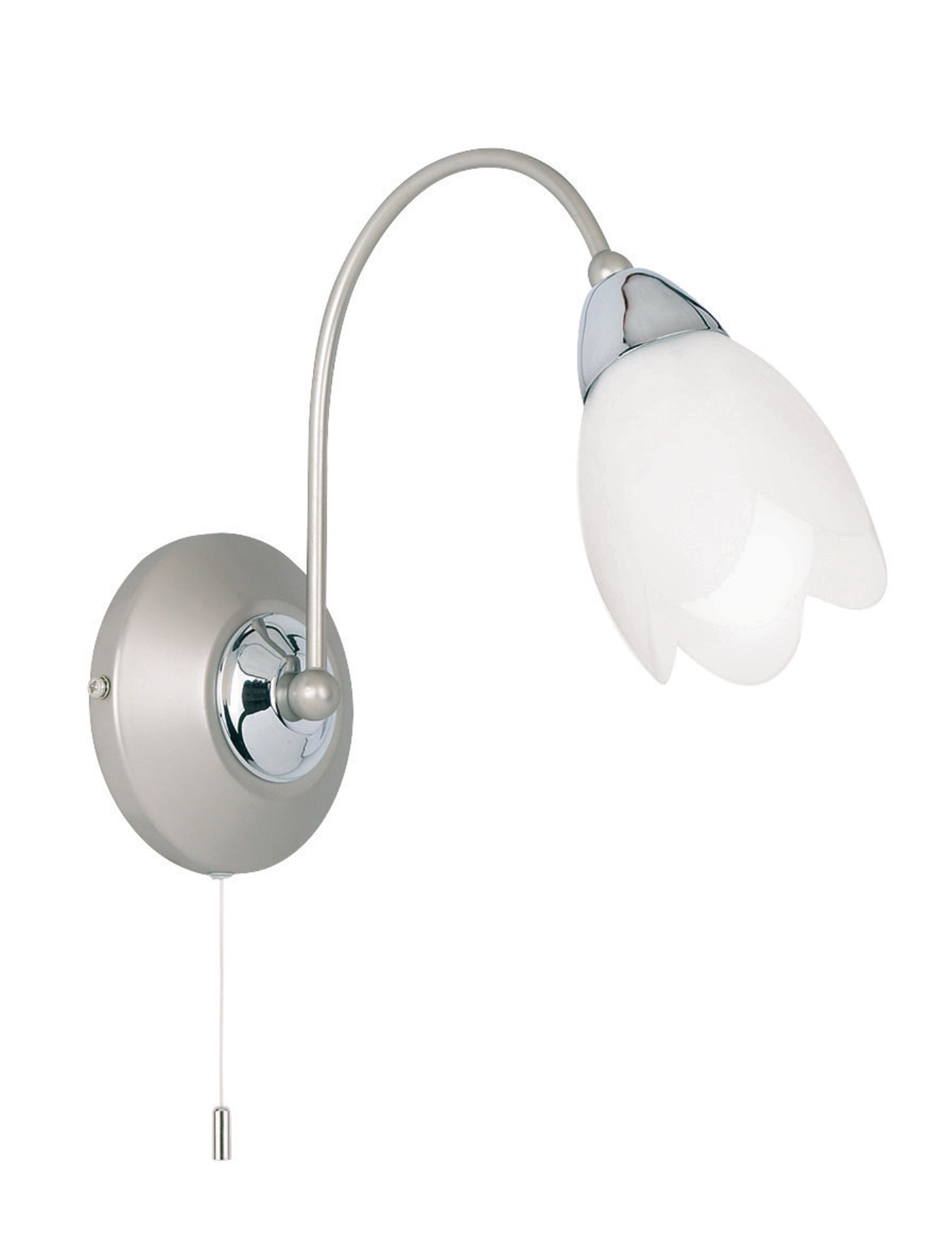 Endon Petal 1lt wall light 40W Satin chrome effect plate & matt opal glass Thumbnail 1