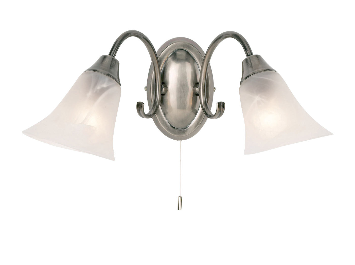 Endon Hardwick 2lt wall light 40W Antique silver effect plate & frosted glass Thumbnail 1