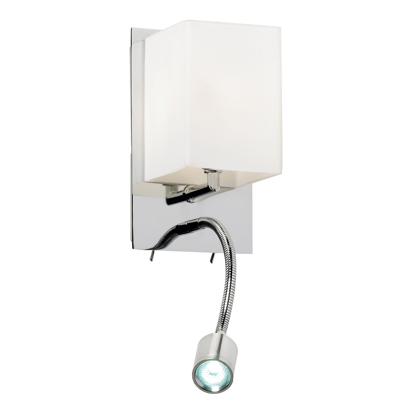Endon Cava 1lt wall reading light 33W & 3W Chrome effect plate & opal glass Thumbnail 1
