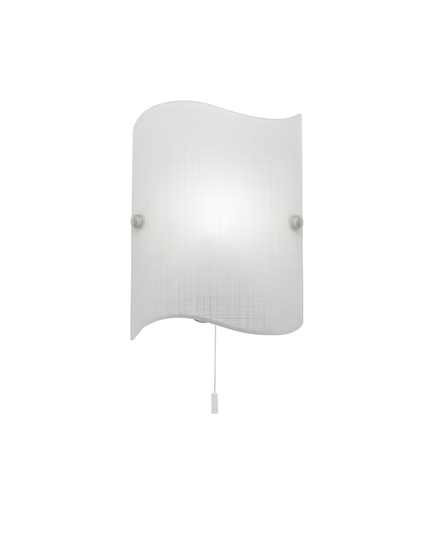 Endon Wave 1lt wall light 60W Matt patterned white glass & chrome effect plate Thumbnail 1