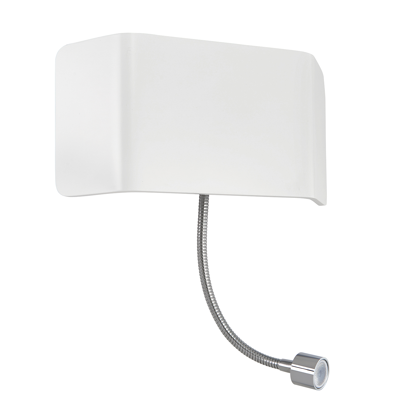 Endon Verona 1lt wall reading light & flexi 7.5W & 1W Matt white paint & chrome Thumbnail 1