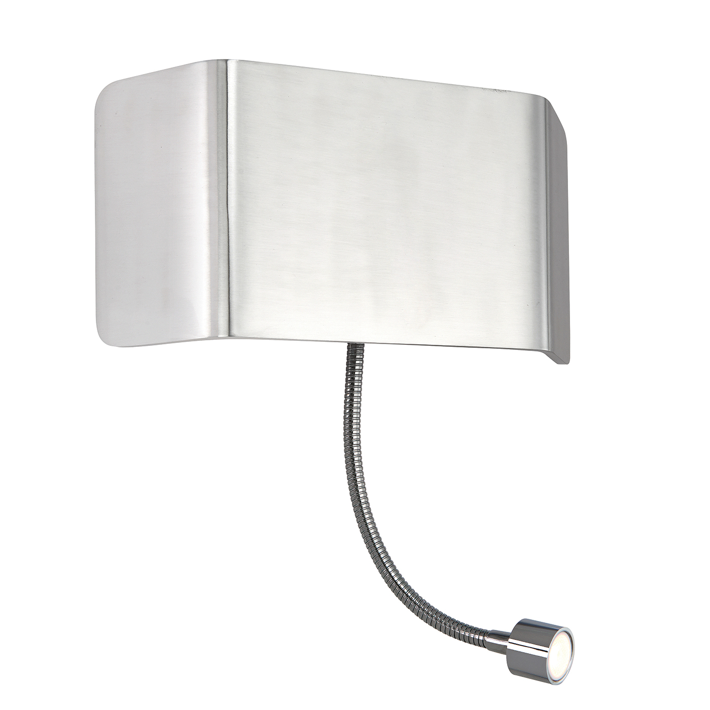 Endon Verona 1lt wall reading light & flexi 7.5W & 1W Polished aluminium chrome Thumbnail 1