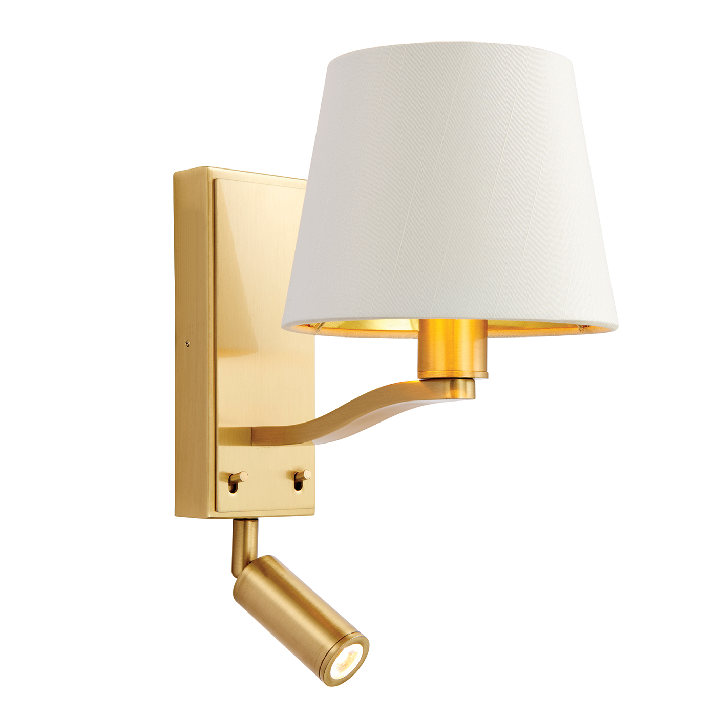 Endon Harvey 1lt wall reading light & spot 40W & 3W brushed gold white faux silk Thumbnail 1