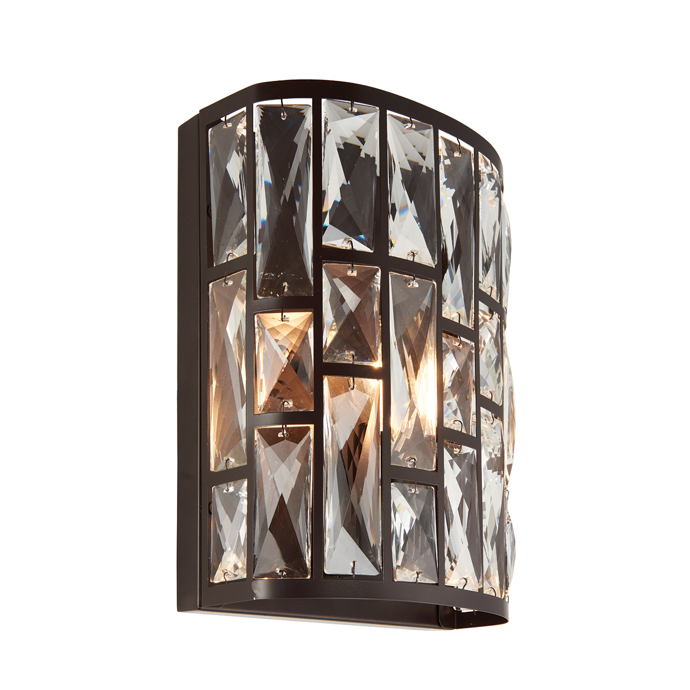 Endon Belle 1lt wall light 40W Dark bronze effect plate & clear crystal Thumbnail 1