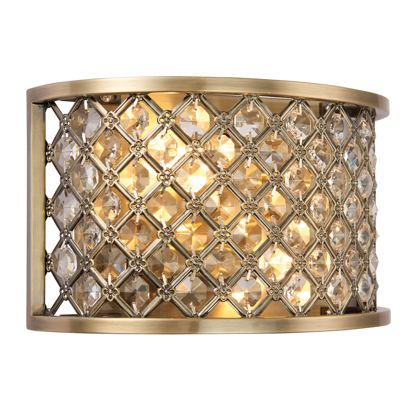 Endon Hudson 2lt wall light 60W Antique brass plate & clear crystal (k9) drops