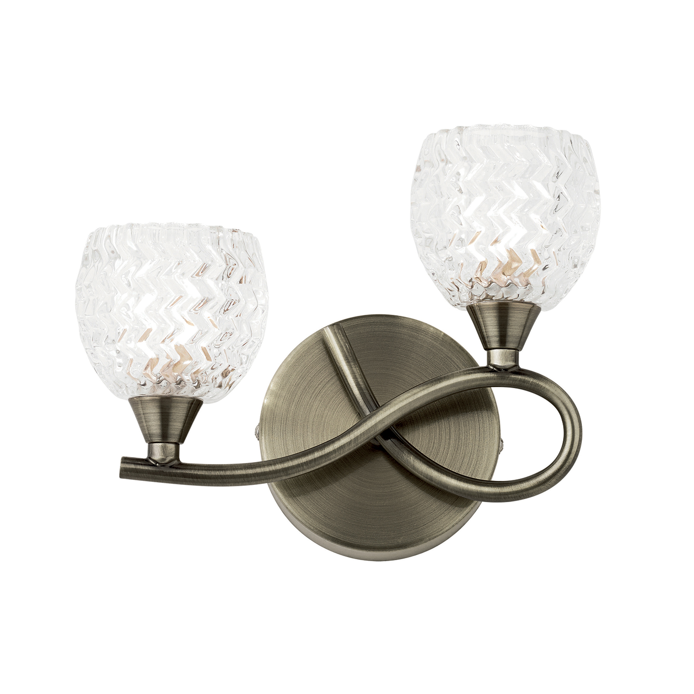 Endon Boyer 2lt right wall light 33W Antique brass clear glass with pattern