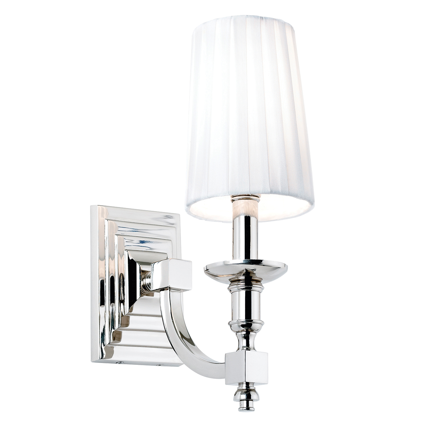 Endon Domina 1lt wall light 40W Nickel effect plate & white faux silk Thumbnail 1