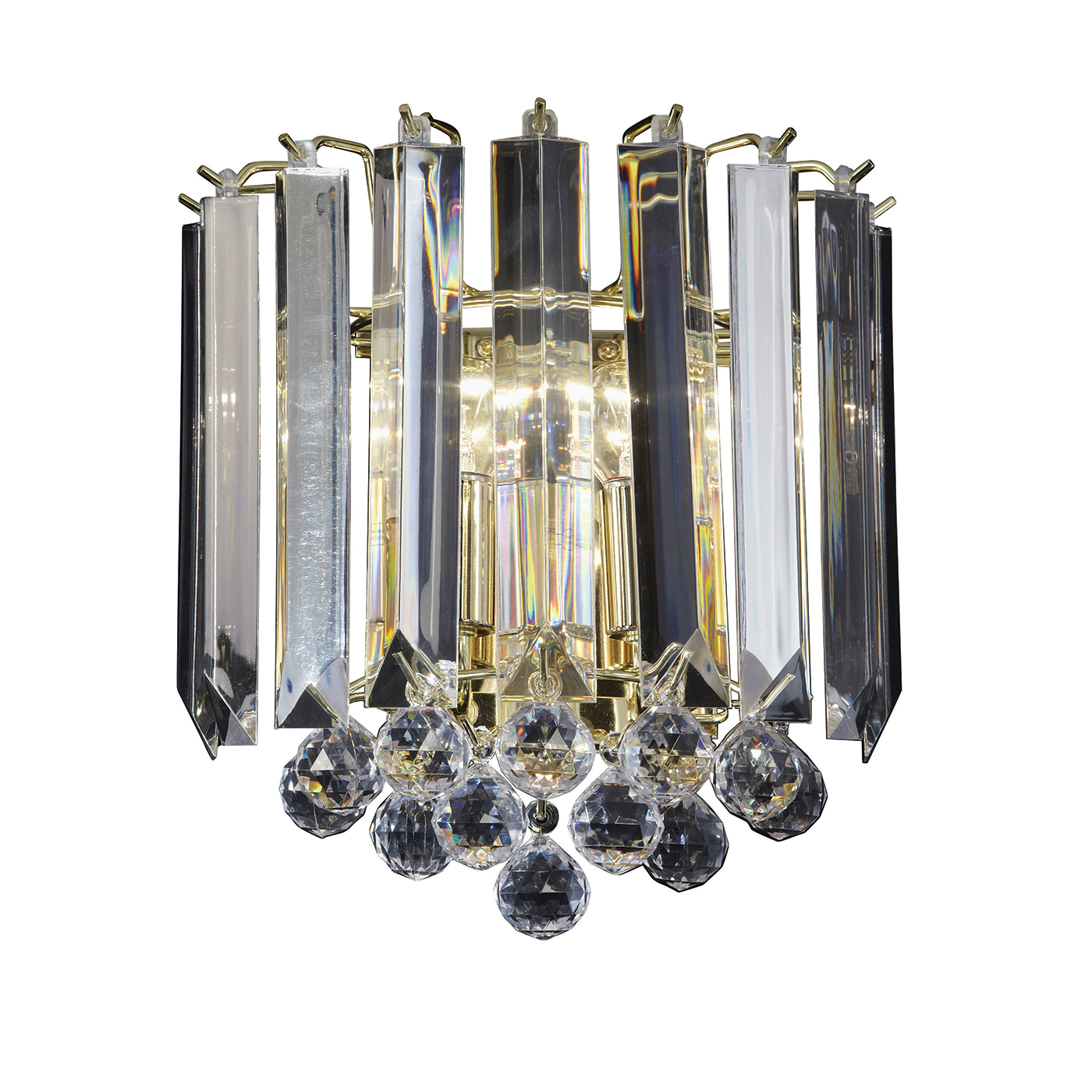 Endon Fargo 2lt wall chandelier light 60W Brass effect plate & clear acrylic Thumbnail 1