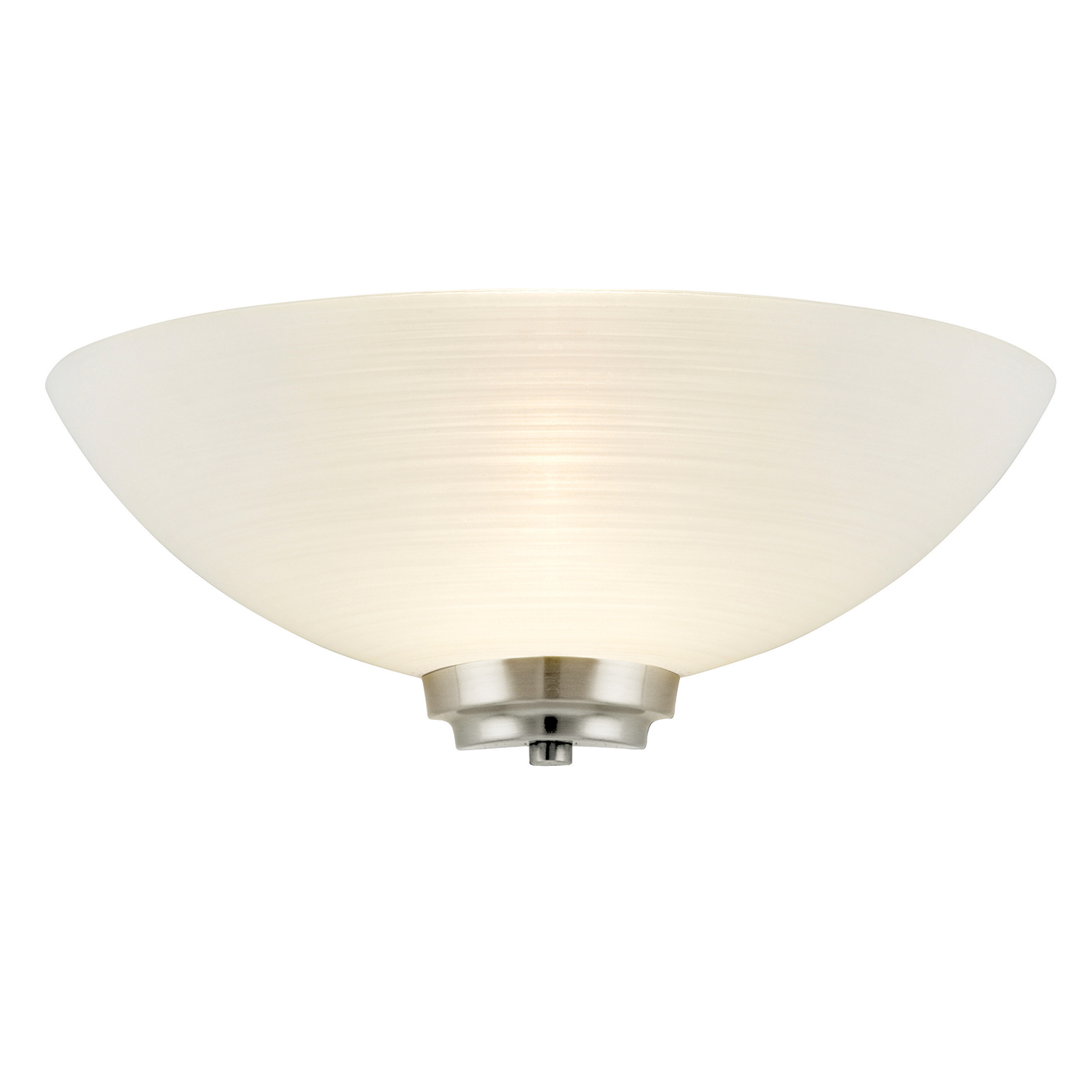 Endon Welles 1lt wall light 60W White painted glass line pattern & satin chrome Thumbnail 1