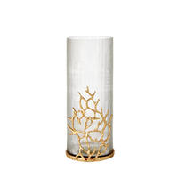Endon Ingleby vase Clear ribbed glass & satin brass H: 265mm  Dia: 130mm