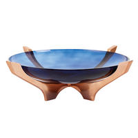 Endon Radstock large bowl Blue glass & satin copper plate H: 125mm  Dia: 430mm