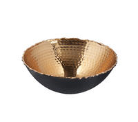 Endon Torno bowl Gloss hammered copper plate & black H: 90mm  Dia: 245mm