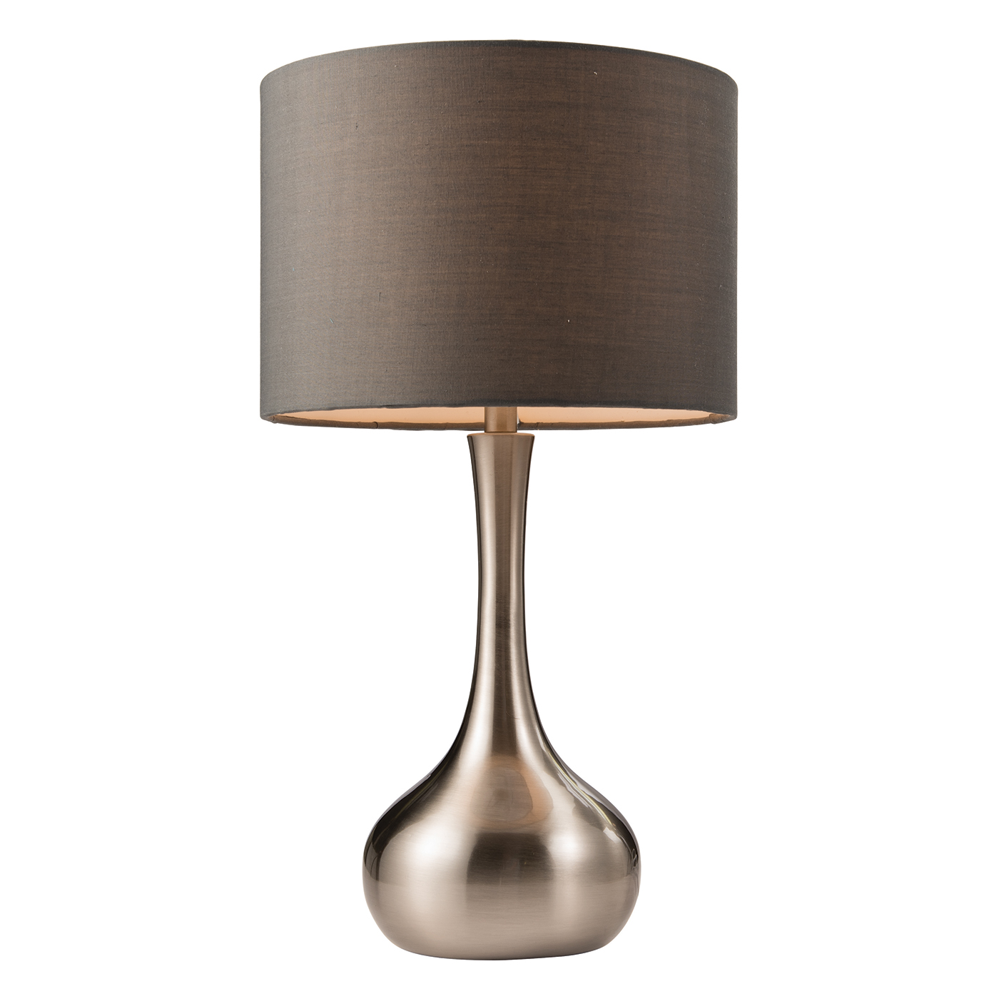 Endon Piccadilly touch table lamp 40W Satin nickel plate & dark grey tc fabric Thumbnail 1