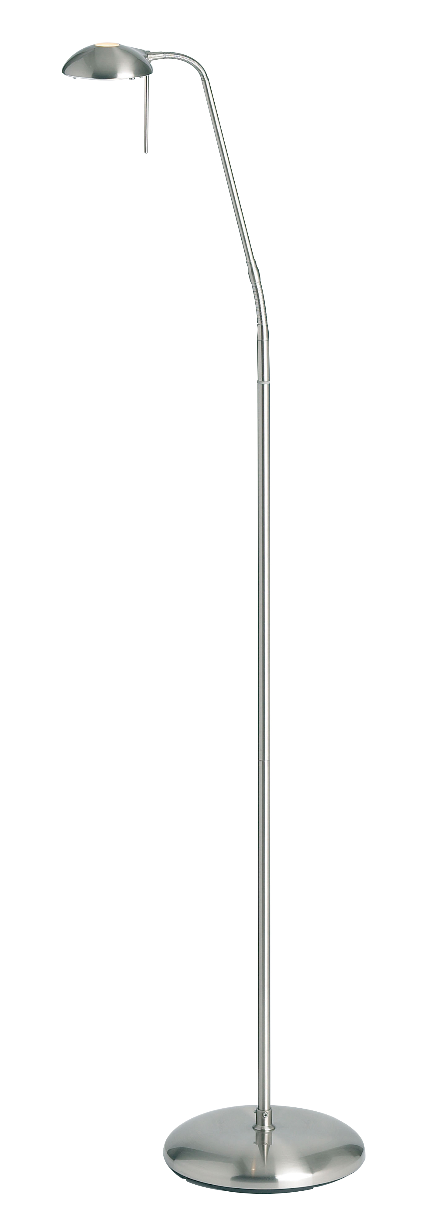 Endon Hackney touch task floor lamp 33W Satin chrome effect plate Thumbnail 1