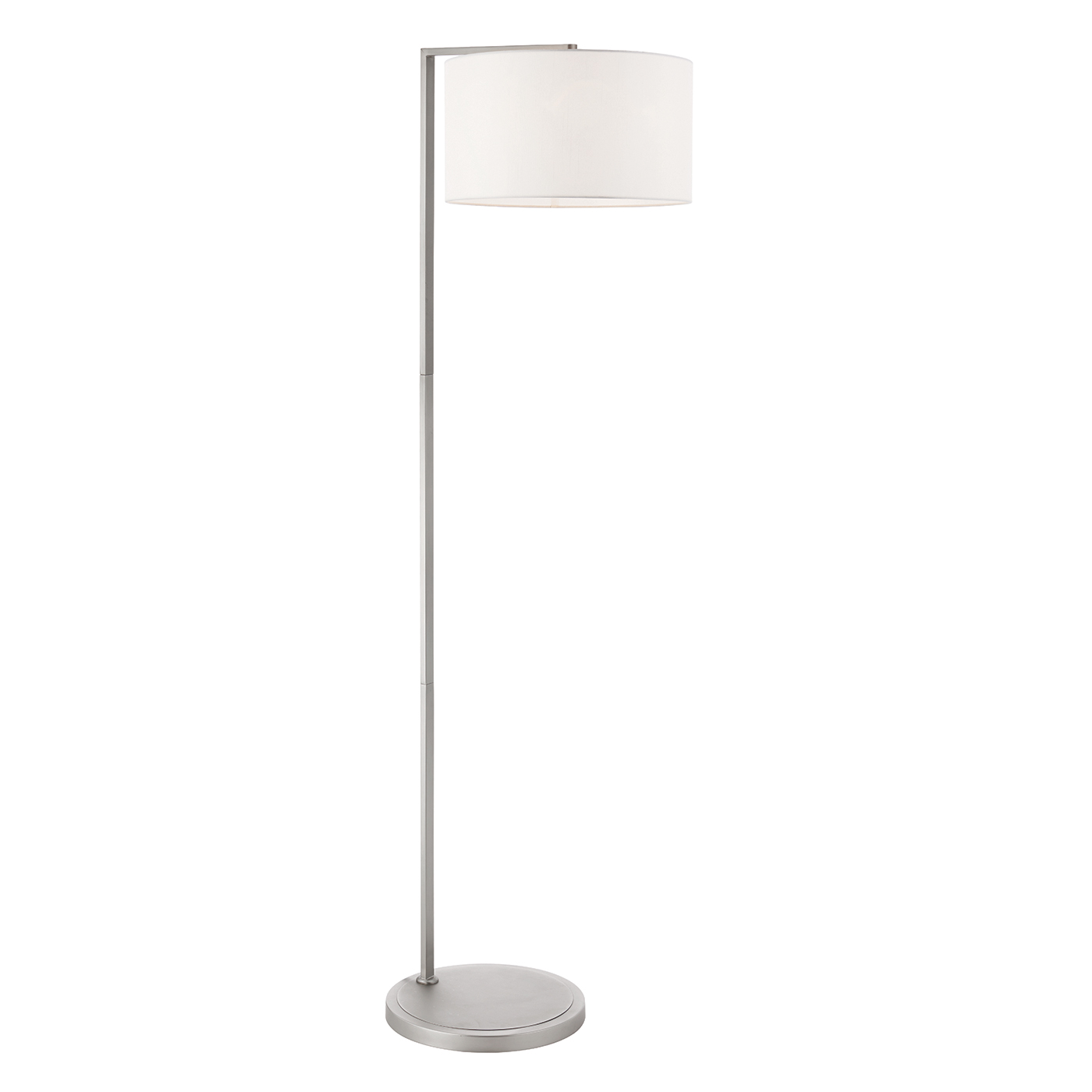 Endon Daley floor lamp 40W Matt nickel plate & vintage white faux silk Thumbnail 1