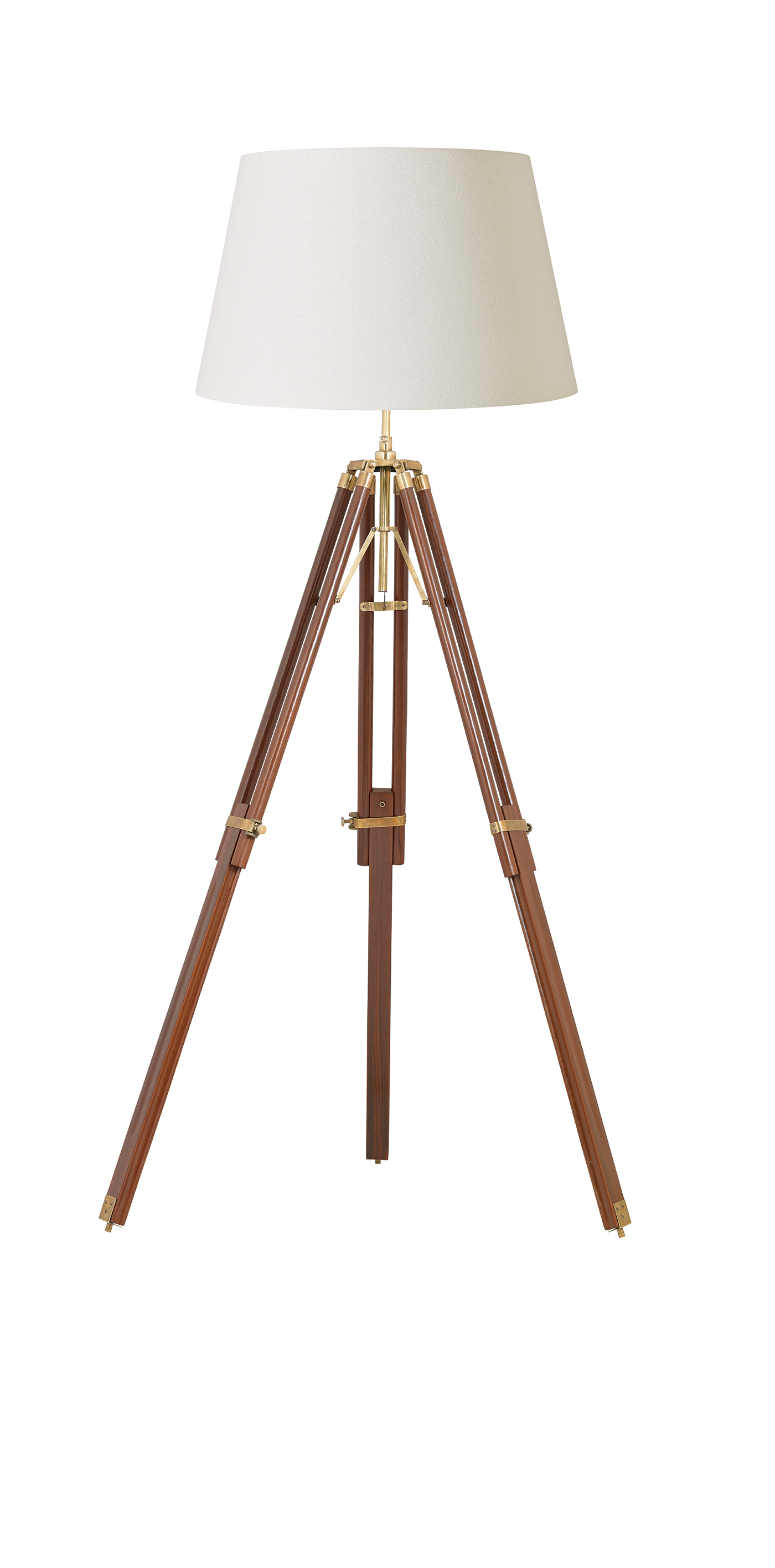 Endon Tripod base only floor lamp 60W Sheesham wood & solid brass