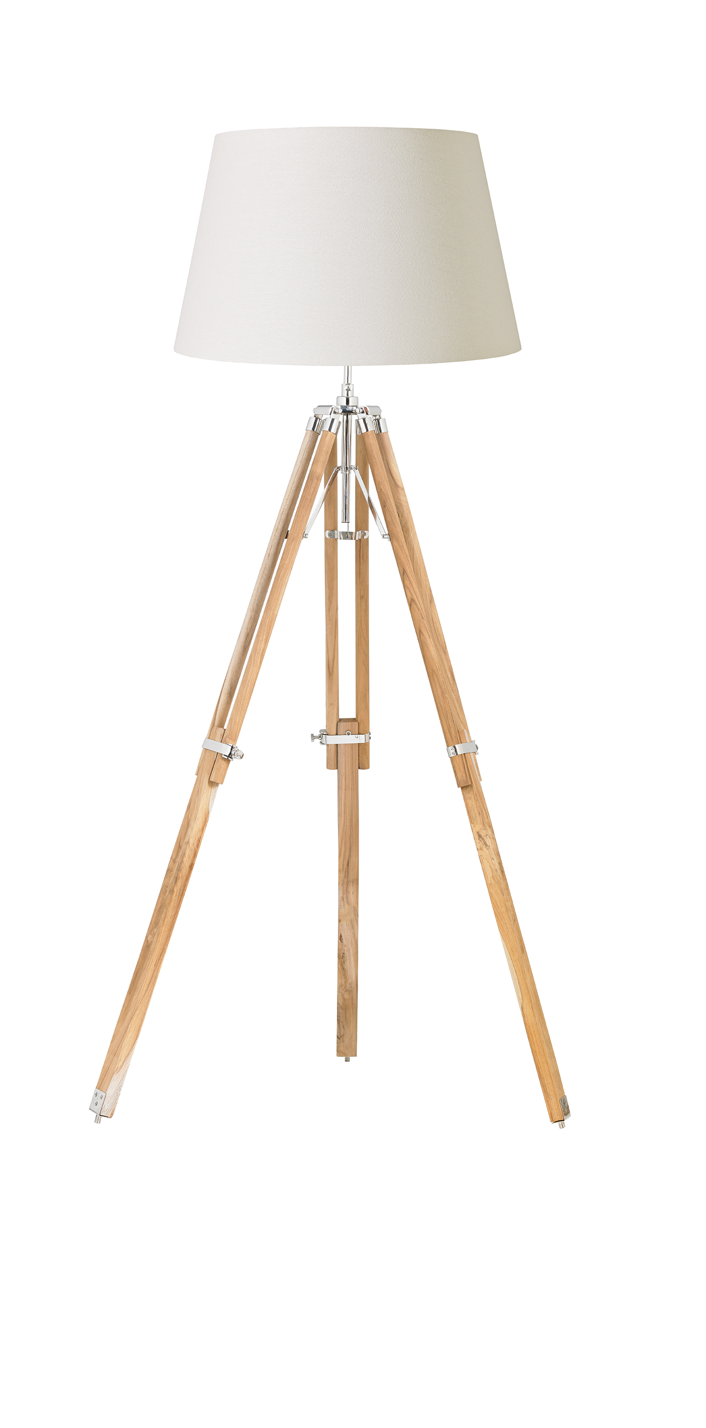 Endon Tripod base only floor lamp 60W Teak wood & bright nickel plate Thumbnail 1