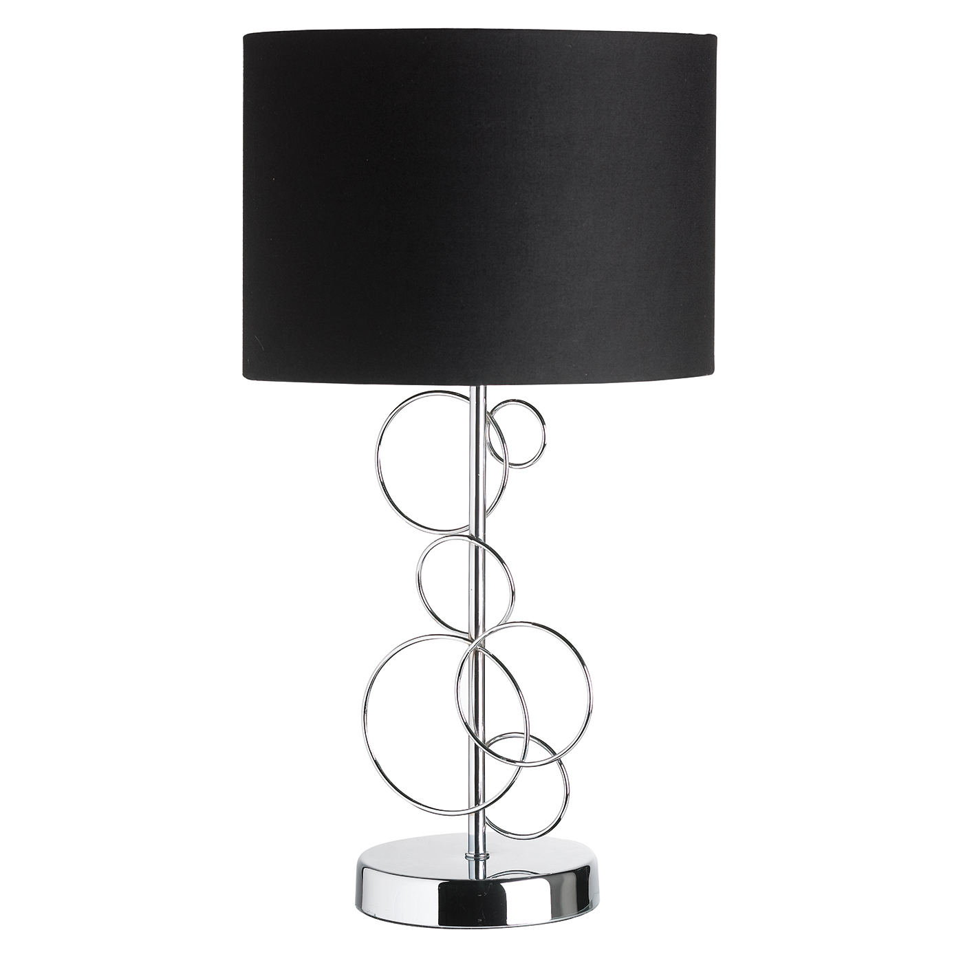 Endon Finchley table lamp 60W Chrome effect plate & black tc fabric Thumbnail 1