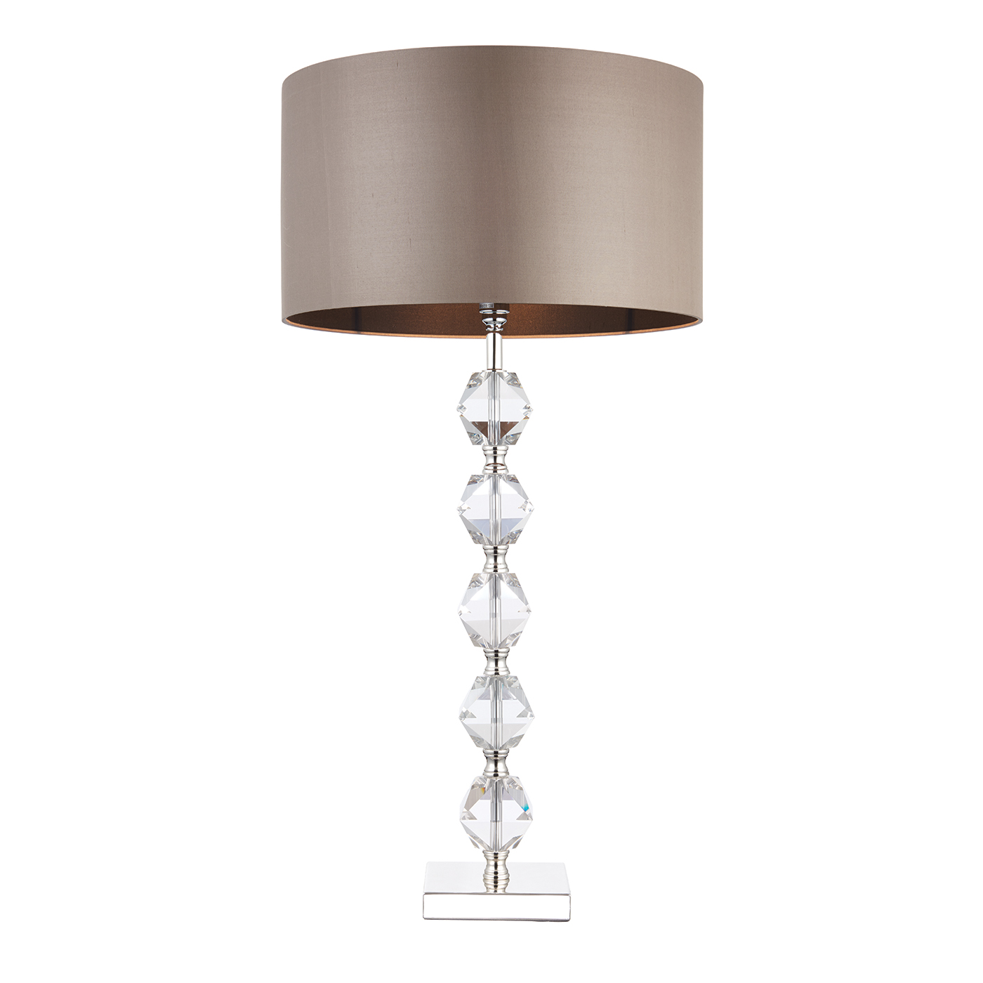 Endon Verdone table lamp 60W Clear crystal (k9) glass detail & taupe silk Thumbnail 1
