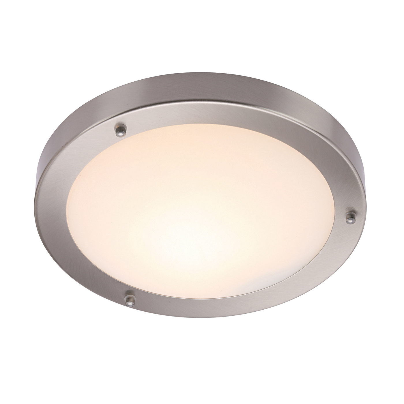 Endon Portico 300mm flush bathroom ceiling light IP44 60W Satin nickel glass