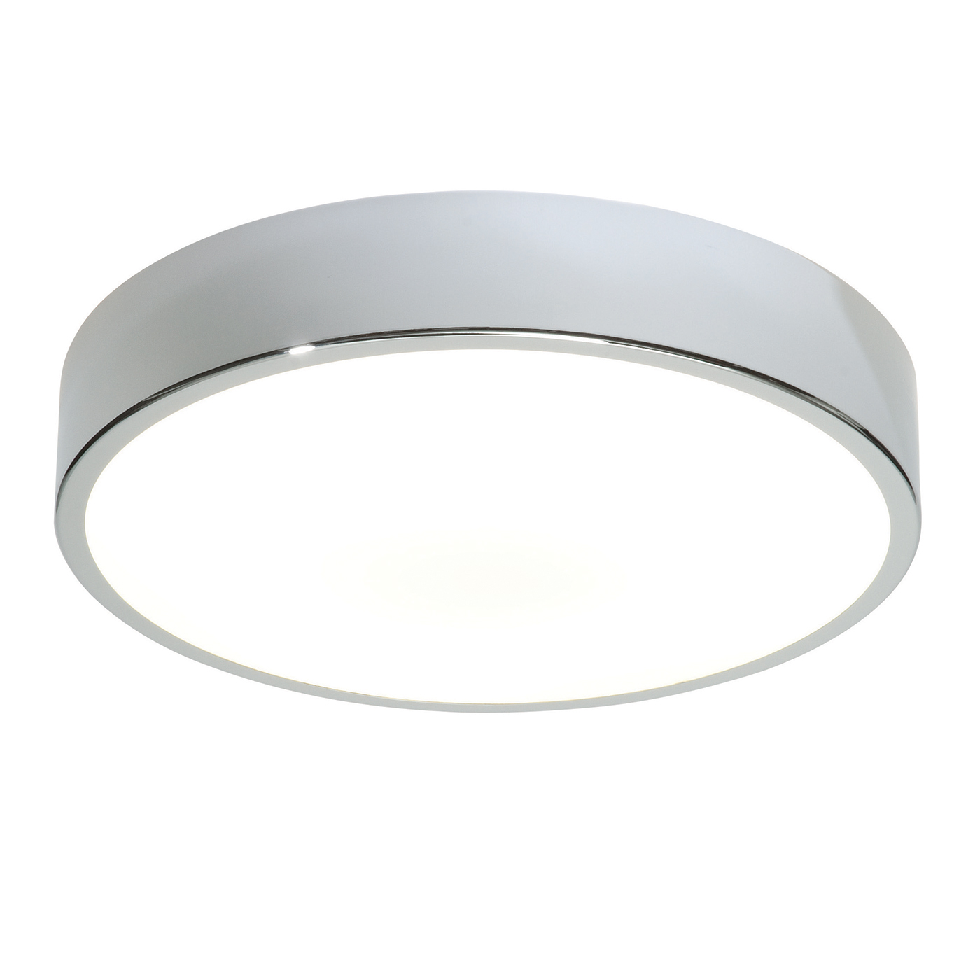 Endon Lipco 300mm flush bathroom ceiling light HF IP44 28W chrome & acrylic Thumbnail 1