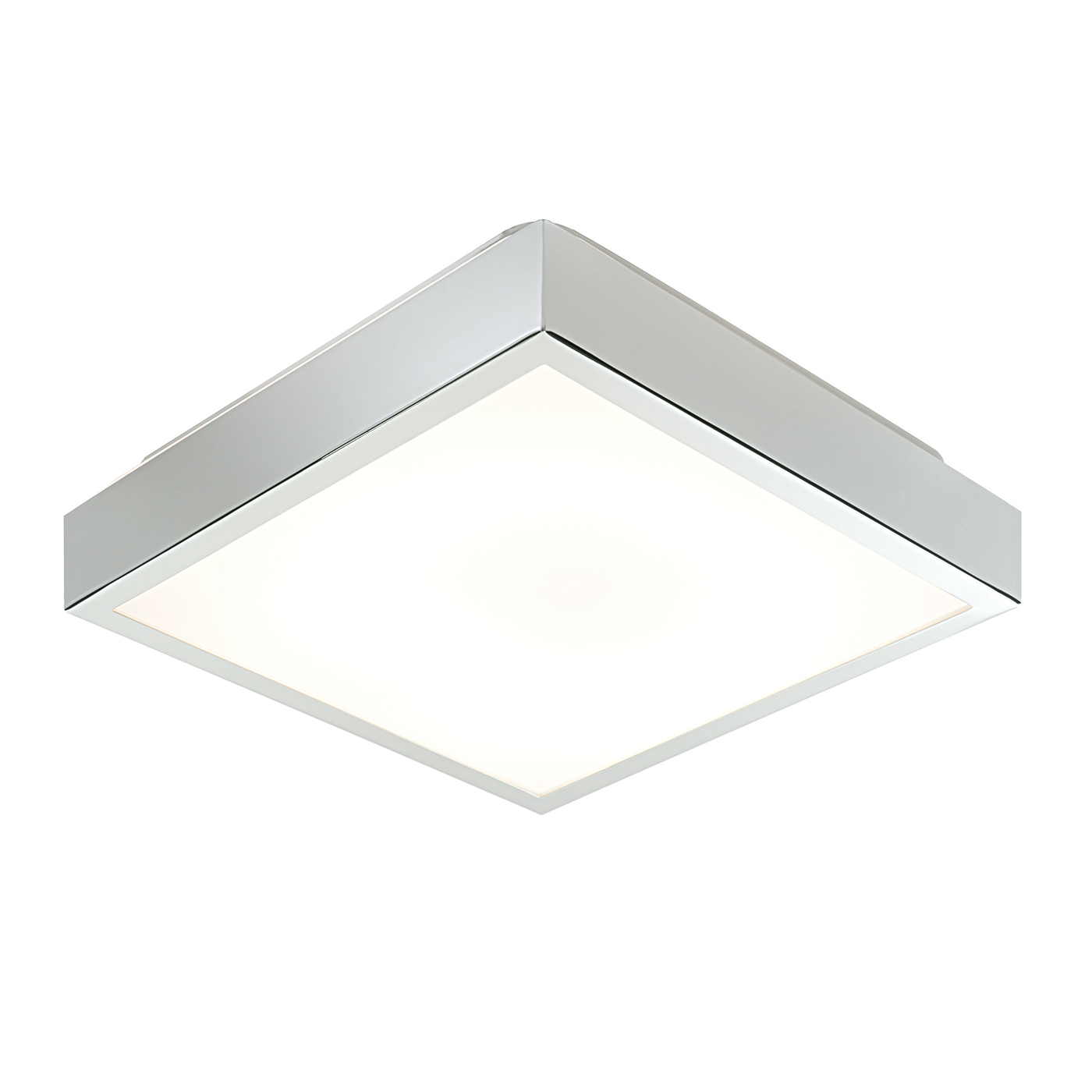 Endon Cubita 290mm square bathroom ceiling light HF IP44 28W chrome & acrylic Thumbnail 1