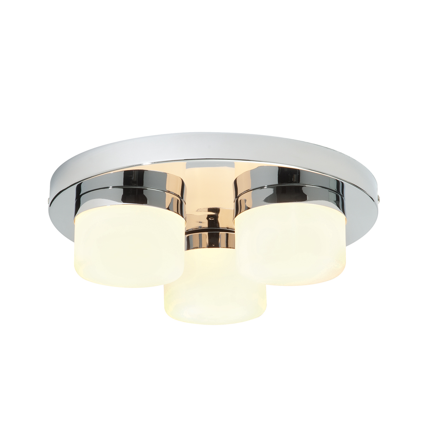 Endon Pure 3lt flush bathroom ceiling light IP44 28W chrome opal glass