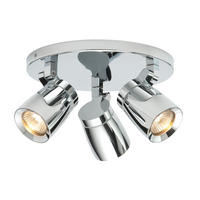 Endon Knight 3lt bathroom ceiling spotlight IP44 35W Chrome effect plate glass