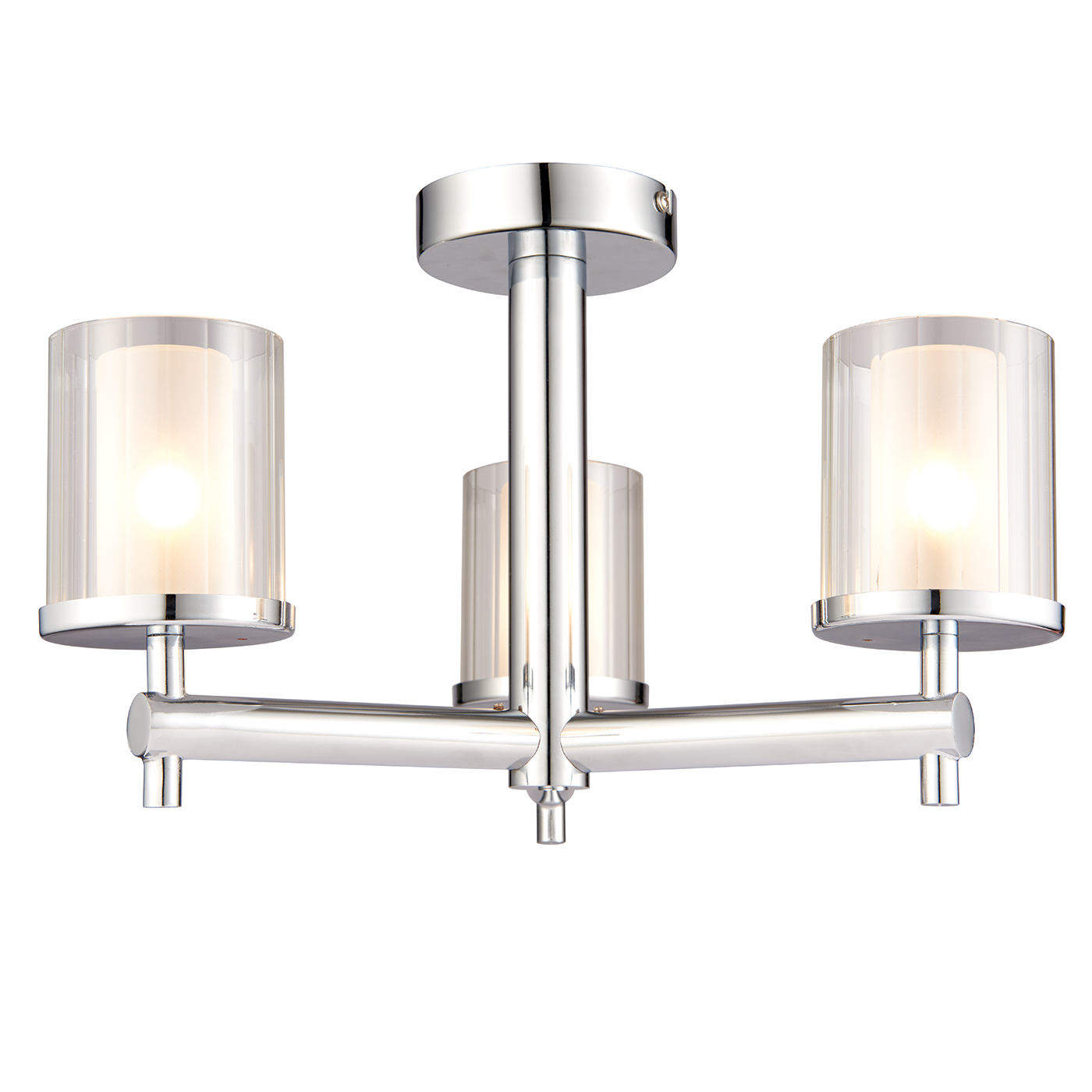 Endon Britton semi flush bathroom ceiling light IP44 3x 18W chrome rippled glass Thumbnail 1