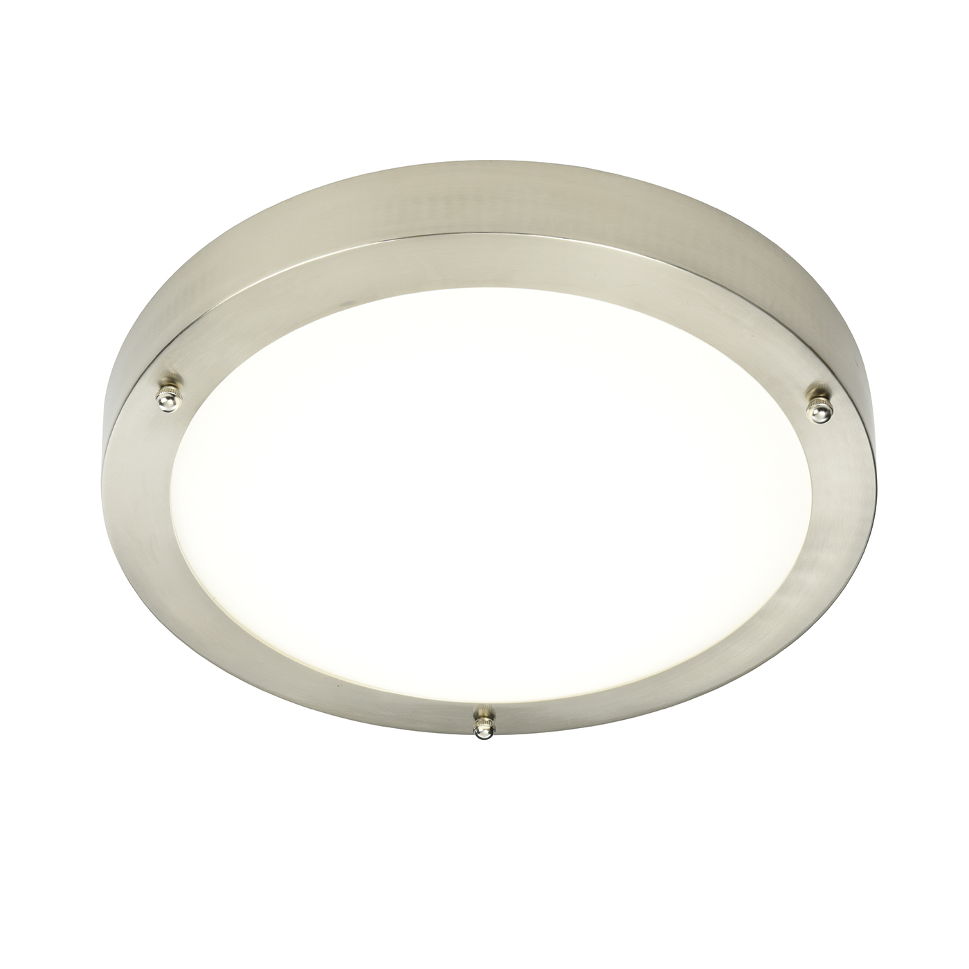 Endon Portico LED 300mm flush bathroom ceiling light IP44 9W Satin nickel glass