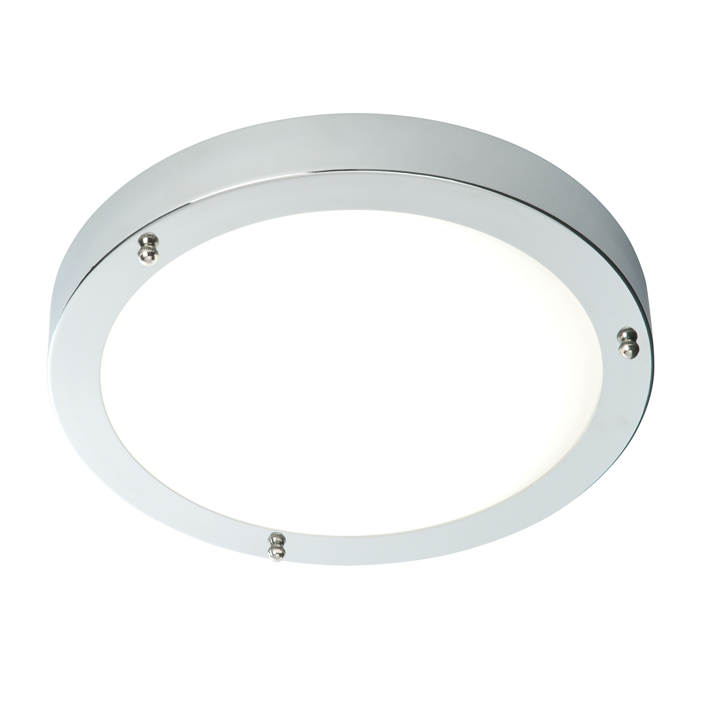 Endon Portico LED 300mm flush bathroom ceiling light IP44 9W chrome glass Thumbnail 1