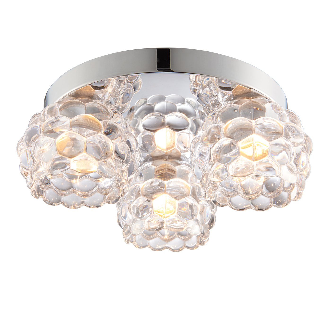 Endon Lawcross 3lt flush bathroom ceiling light IP44 18W chrome & rippled glass Thumbnail 1