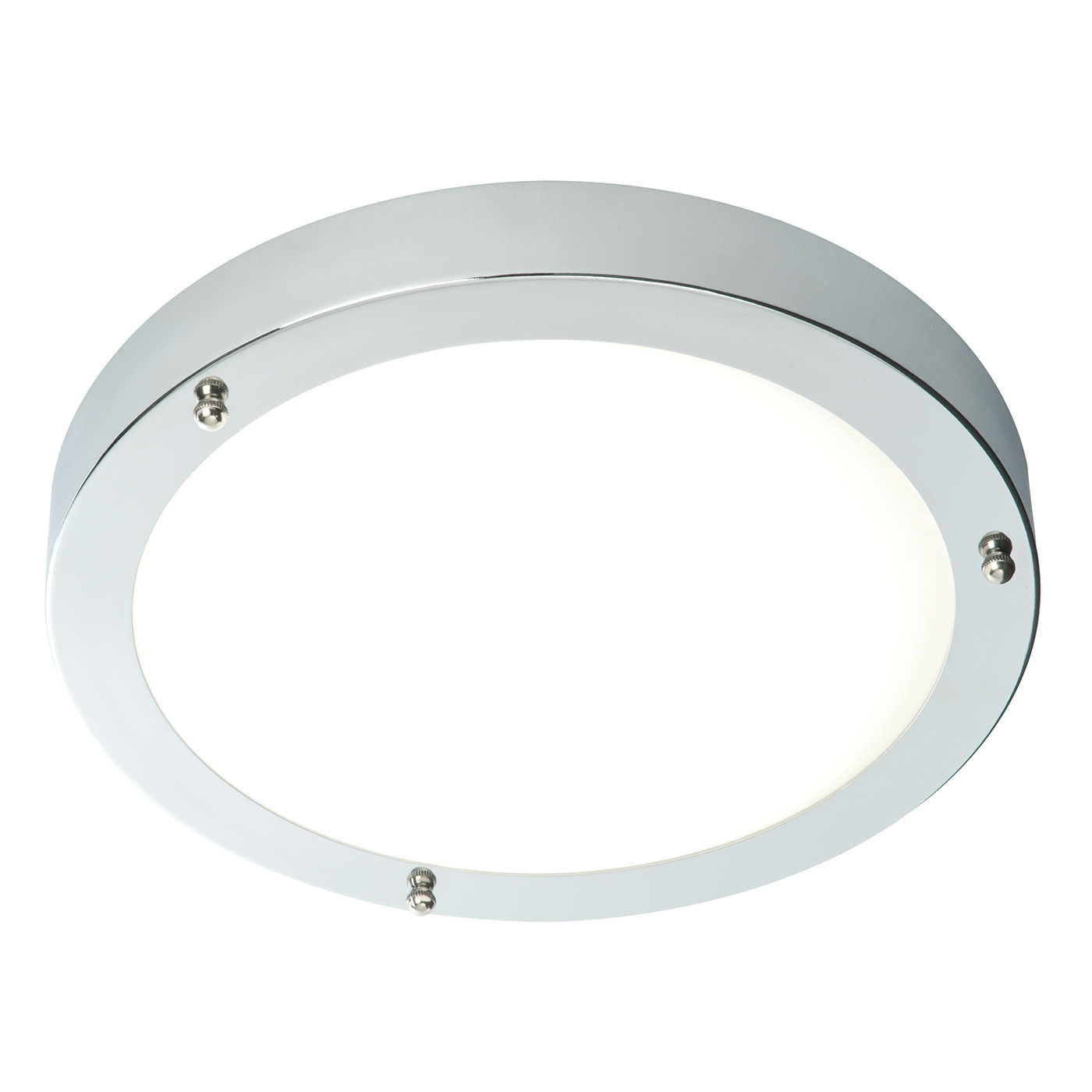 Endon Portico 300mm flush bathroom ceiling light IP44 60W chrome glass