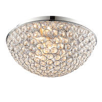 Endon Chryla 3lt flush bathroom ceiling light IP44 18W chrome & crystal detail