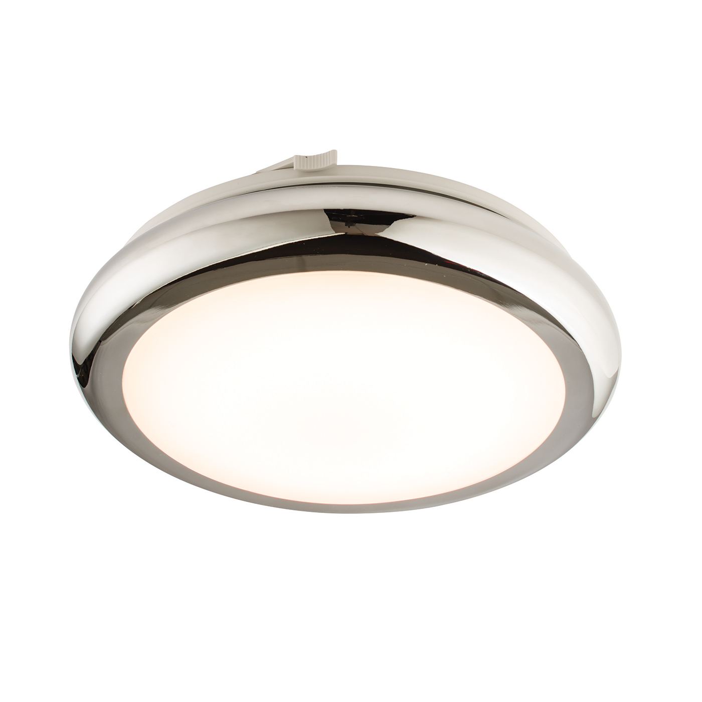 Endon Sigma LED 290mm flush bathroom ceiling light IP44 8W chrome polypropylene
