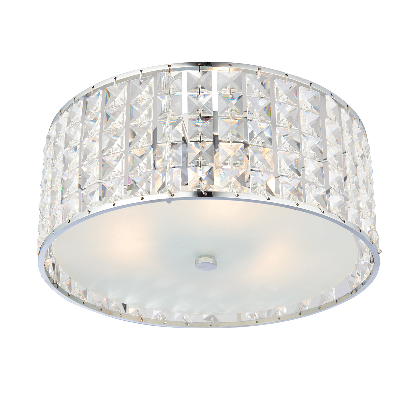 Endon Belfont 3lt flush bathroom ceiling light IP44 18W crystal detail & chrome Thumbnail 1