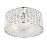 Endon Belfont 3lt flush bathroom ceiling light IP44 18W crystal detail & chrome