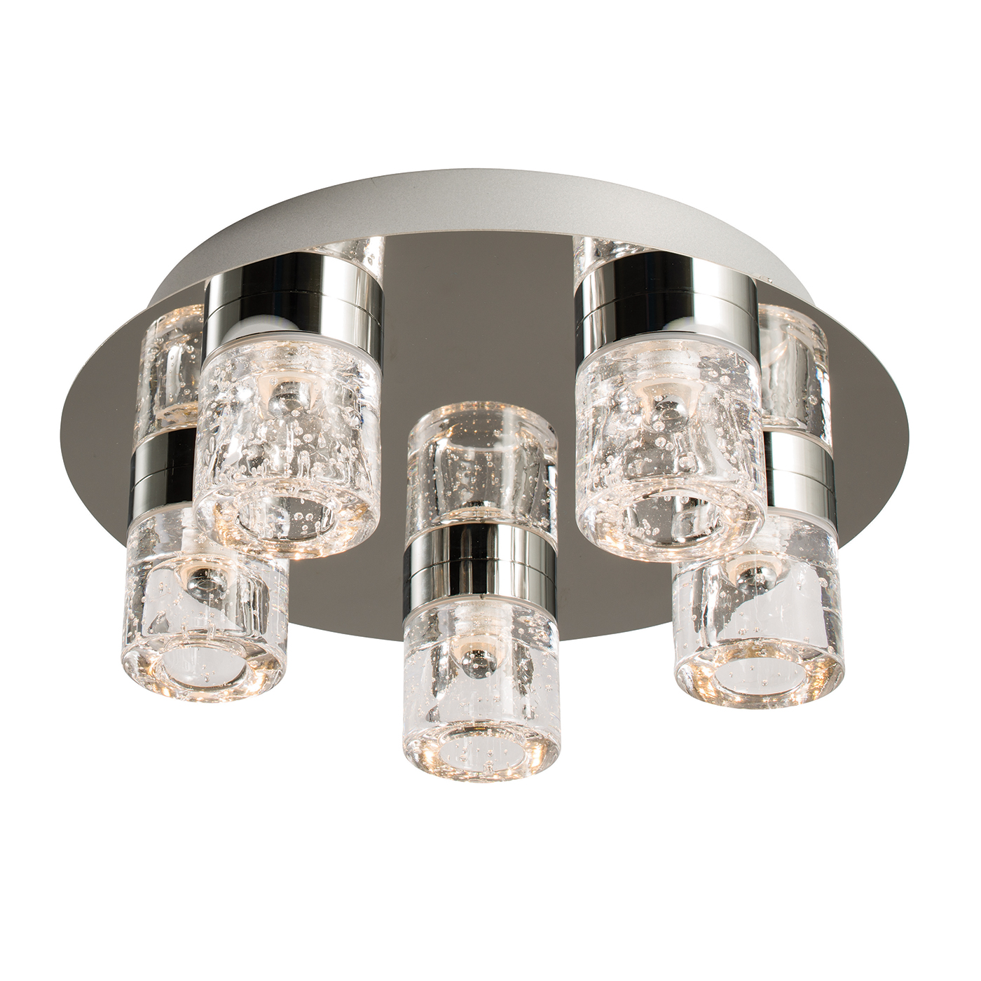 Endon Imperial flush LED bathroom ceiling light IP44 5x 4W chrome glass bubbles Thumbnail 1