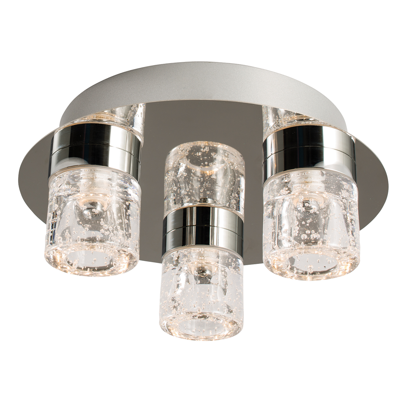Endon Imperial flush LED bathroom ceiling light IP44 3x 4W chrome glass bubbles Thumbnail 1