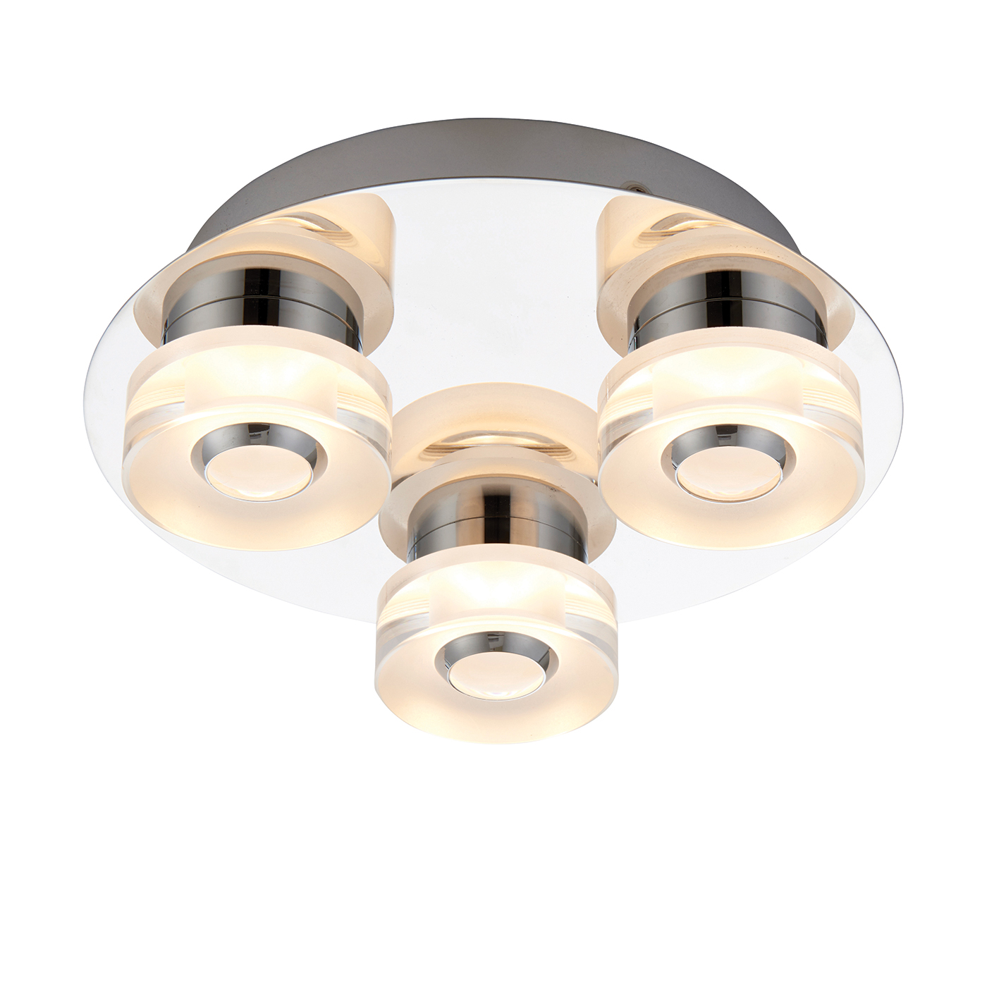 Endon Rita 3lt flush LED bathroom ceiling light IP44 4.5W & 0.45W chrome acrylic