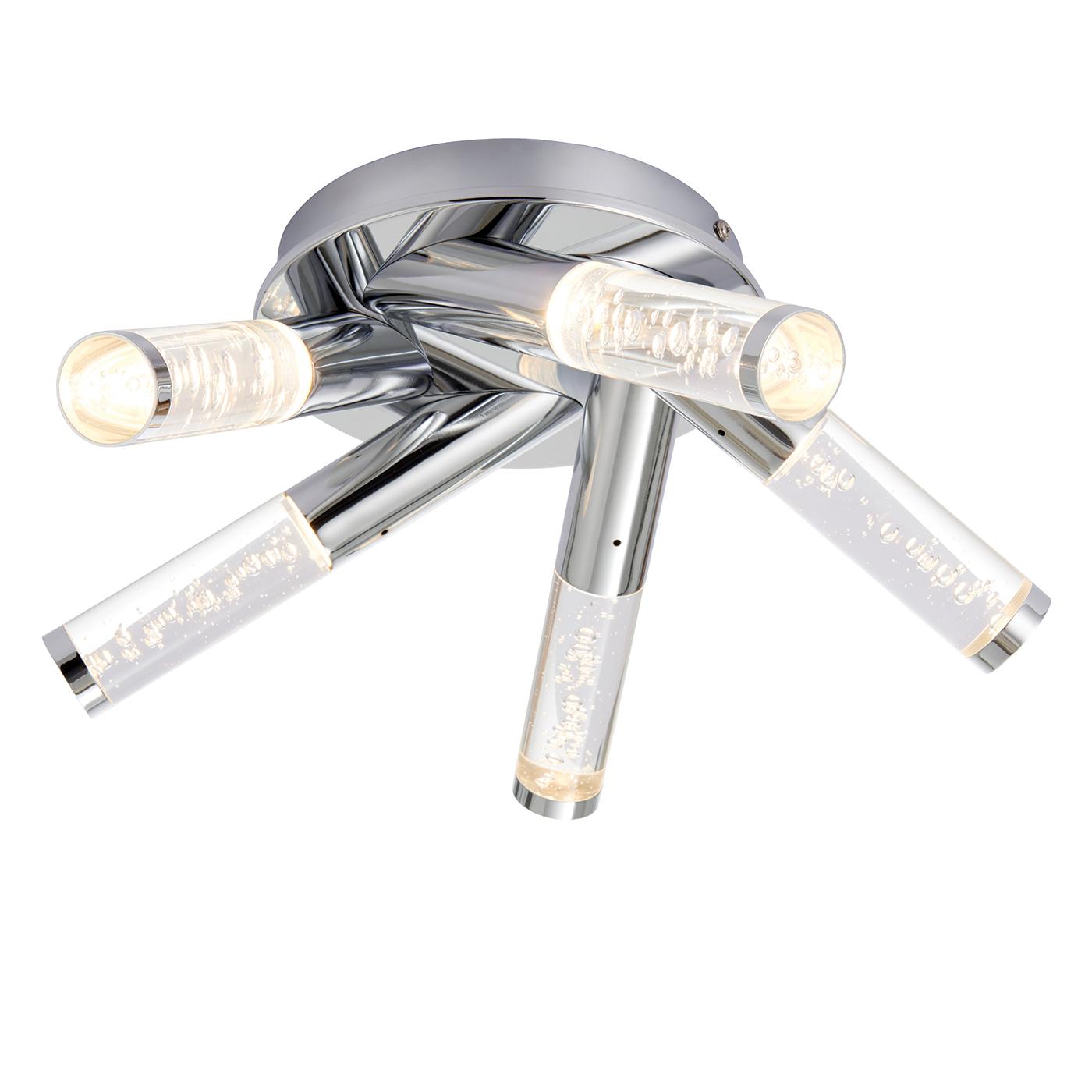 buy popular fb385 daa27 Details about Endon Essence flush LED bathroom ceiling light IP44 5x 3W  chrome acrylic bubbles