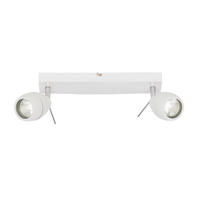 Endon Travis 2lt bathroom ceiling spotlight IP44 28W Matt white paint glass