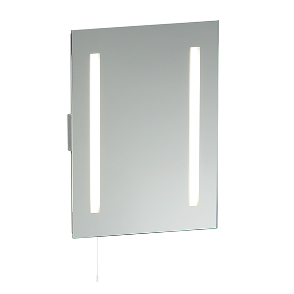 Endon Glimpse shaver bathroom mirror HF IP44 15W pull cord H: 500mm W: 390mm Thumbnail 1