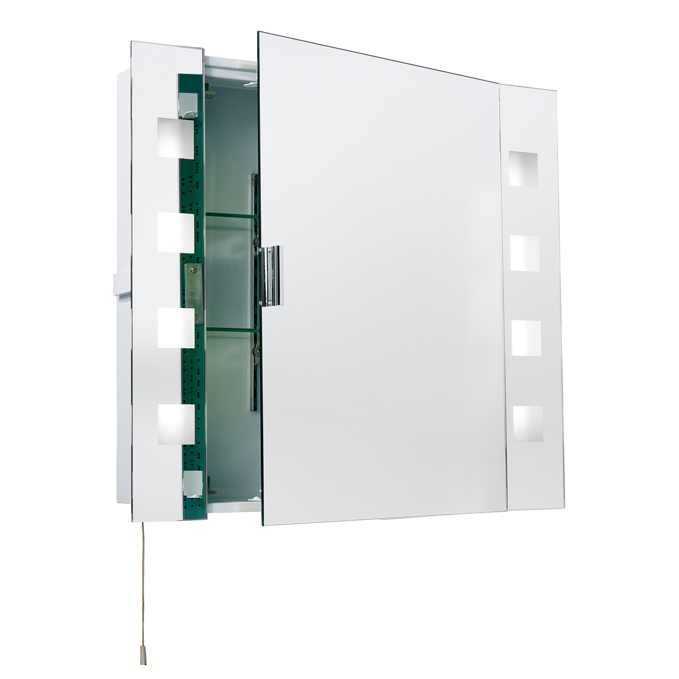 Endon Milos shaver cabinet bathroom mirror IP44 15W pull cord H: 600mm W: 650mm Thumbnail 1